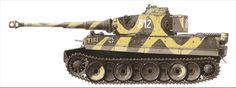 """""""TIKI"""" - A very famous Tiger of sSSPzAbt.102, 2.SS Panzergrenadier Division """"Das Reich"""". """"TIKI"""" is an acronym for a grilfriend's name that stands for Theresa-Katrin or Theresa-Kristine. Artwork © Copyright of"""