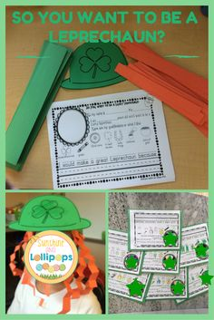 #dollardeal #Stpatricksday So You Want to be a Leprechaun Differentiated Writing frames to Show Your Qualifications!  Fun writing frames for your little leprechauns. Plus a Leprechaun Hat!  A differentiated writing activity 3 Different frames for different levels. Idea cards for reluctant writers.  A crown craft so your kiddos can look and feel like leprechauns.  Take their picture and post it with their writing. Take a look you will LOVE it!