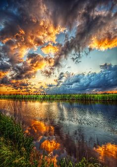 Golden sunset reflection- love love love X) #colorfulskys