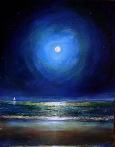 June 21 Nighttime Moonlight Spiritual Beach Seascape Original Painting, painting by artist Toni Grote
