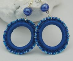 Crochet and beaded hoop earrings - Crochet jewelry - Big earrings - Blue earrings - Fashion jewelry - Gift idea Big Earrings, Beaded Earrings, Beaded Jewelry, Handmade Jewelry, Hoop Earrings, Crochet Earrings Pattern, Bead Crochet, Fashion Earrings, Fashion Jewelry