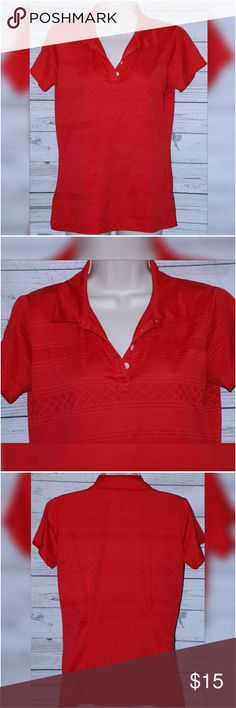 """Nike Women's Golf Dri-Fit Sz Medium Red Polo Shirt Nike Women's Golf Dri-Fit Sz Medium Red Short Sleeve Striped Polo Shirt   All measurements are approximate and  taken unstretched and laying flat.   Chest: 40""""  Length: 23.5""""  Sleeve: 9 3/4""""   EUC no rips or stains- Small factory fabric flaw near the left shoulder.   If you have any questions, please don't  hesitate to send me a message.  Please feel free to check out the other  items listed in my store.   Note to Buyers:  **Colors may vary…"""