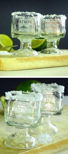 Patron Tequila Mini Shot Glasses // SO cUte! #DIY #recycle