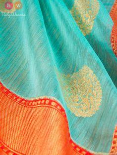 Green Handwoven Linen Silk Kadhuan Brocade Saree - HolyWeaves - 4