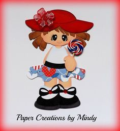 Paper Piecing by Mindy | ELITE4U lollipop girl kids summer premade paper piecing scrapbooking ...