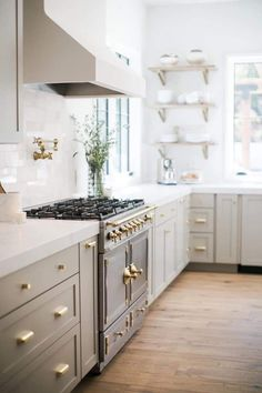 stove top chicken recipes From California track home to custom Spanish modern beauty. Designed by CHER HOUSE cherhousedesign Light Grey Kitchen Cabinets I French Stove I Brass amp; Home Decor Kitchen, Kitchen Interior, New Kitchen, Home Kitchens, Kitchen Wood, Kitchen Grey, Floors Kitchen, Neutral Kitchen, Kitchen Stove