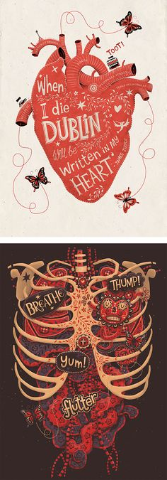 Illustrations by Steve Simpson    I like words in illustrations. I'm especially fond of the heart one on top :)