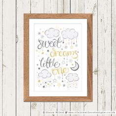 "Featuring beautiful hand drawn typography and cute little illustrative clouds and stars, ""Sweet Dreams Little One"" is the perfect gift for a new arrival and would be a great addition to any nursery or children's room. The design can also be personalised at no extra cost – please contact me directly with any enquiries."