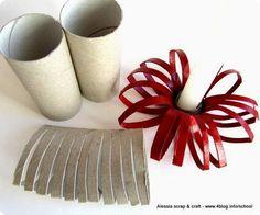 DIY : Décos de noël, #knutselen, kinderen, basisschool, wc-rol, toiletpapierrol, kandelaar, rozet, kerstmis, decoratie