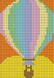 Hot air balloon pattern / chart for cross stitch, crochet, knitting, knotting, beading, weaving, pixel art, and other crafting projects