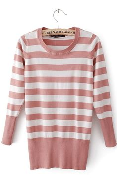 Round neck slim fit striped sweater pink #Ahaishopping