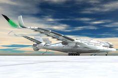 Es wäre ein Flugzeug der Superlative: 96 Meter Spannweite, drei Stockwerke, hochklappbare Flügel. Doch der Clou beim Entwurf des Industriedesigners Oscar Viñals ist der neue dreifache Antrieb.
