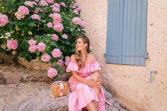 Gal Meets Glam Grimaud & St. Tropez, France Lisa Marie Fernandez dress, Mark Cross bag, K. Jacques sandals & Raen sunglasses