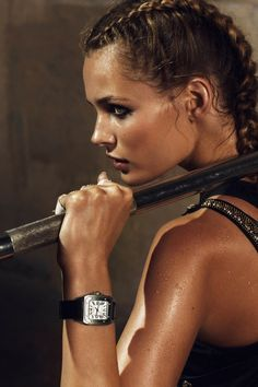 love the watch!  Edita Vikeviciute gets into fighting form for Lachlan Bailey's beauty images featured in the April edition of Vogue Paris.
