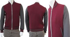 Bi color College Jacket,knitted in Merinos Wool,side pockets in contrast,zip fasten,collar,hip band and cuffs whit stripes Gray and Bordeaux made in Italy on sale. #CollegeJacket #Menfashion   #Shopping
