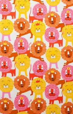 Novelty Fabric from Alexander Henry Little Lion Yellow Orange Pink Happy Lions with Crowns on White