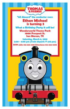 thomas the train ticket invitation get 2 by digipartyshoppe, $6.00, Party invitations