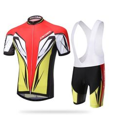 /men's Yellow and Red Short Sleeve Cycling Jersey Set #Cycling #CyclingGear #CyclingJersey #CyclingJerseySet