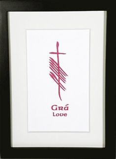 Love (Grá) presented in deep crimson ogham.