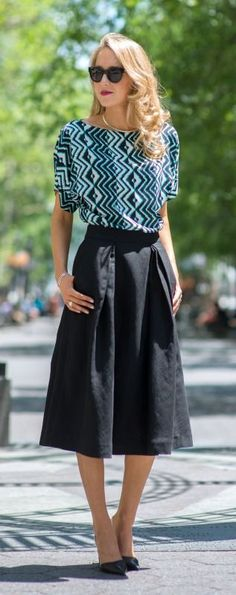 today on the blog with @Nordstrom: black, white and seafoam geometric silk dolman sleeve top + classic black full midi skirt