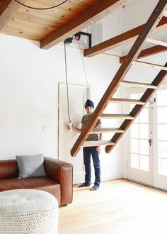 Our Loft Ladder Goes Electric! - Yellow Brick Home Loft Staircase, Attic Stairs, Staircase Design, Stairs For Loft, Garage Stairs, Tiny House Stairs, Retractable Stairs, Stair Ladder, Attic Renovation