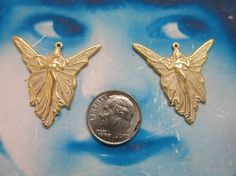 Gold Plated Frosted White Patina  Brass Fairy Charm Pendants 360WHT x2 by dimestoreemporium on Etsy