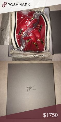 Giuseppe Zanotti High Top Sneaker's (Red) Calf Skin Italian Leather High Top Sneaker's : DS (DeadStock) Sneaker, Manufacturer Unfortunately Discontinued This Exclusive Product. Package Comes With Authentication Card As Well As Original Dust Bag. ( Please Contact My Email For Further Questions Or Concerns Thank You ) ( Email: AnthonyJ.Nico@gmail.com) Giuseppe Zanotti Shoes Sneakers