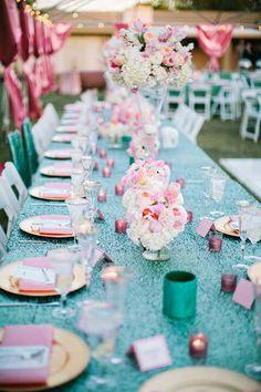 Arizona Wedding from Gina Meola + Ashley Gain Weddings & Events Pink Orange Turquoise Glitter Gold W Aqua Wedding, Mod Wedding, Wedding Colors, Wedding Events, Teal Weddings, Spring Weddings, Wedding Dinner, Tiffany Blue, Azul Tiffany