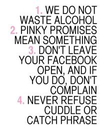 Apartment rules. I have to do this, with some rules of my own of course :)