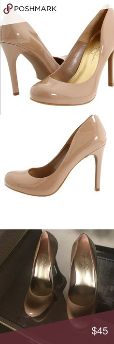 Jessica Simpson Callie Nude Heels size 7.5 patent leather, nude, size 7.5, has a few scuffs and imperfections, but in great shape!  Easy slip-on wear. Man-made lining. Lightly cushioned man-made footbed. Wrapped heel. Man-made sole. Measurements: Heel Height: 4 in Weight: 9 oz Platform Height: 1⁄2 in Jessica Simpson Shoes Heels