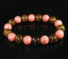 Bicolor BRWON PINK Chinese Jade Gem Buddhist Prayer Mala Beads Bracelet WZ89