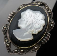 Vintage Cameo Carved MOP Ring Mother of by TheJewelryLadysStore,