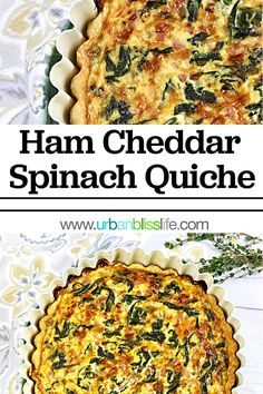 Boost your brunch game with this impressive, delicious, and easy-to-make Ham Cheddar Spinach Quiche! #quiche #recipe #recipes #food #spinachquiche #ham #cheddar #hamquiche #cheddarquiche #breakfast #lunch #dinner #brunch