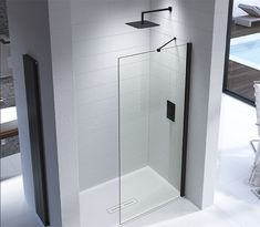 Kudos Ultimate 2 wet room shower screen panels come in and thick glass. Each shower screen is finished to a incredibly high standard. Wet Room Shower Tray, Wet Room Shower Screens, Shower Panels, Walk In Shower, Black Shower, Bathroom Trends, Bathroom Designs, Shower Systems, Small House Design
