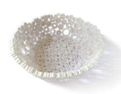 White Paper Bowl Handmade Basket Lightweight Vase Round