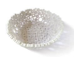 Paper Bowl White Basket Lightweight Soft Vase Round Recycled Paper Upcycled Repurposed Eco-Friendly Handmade