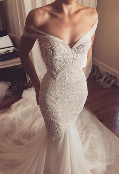 Off Shoulder Mermaid Exquisite Beaded Low Back Sexy Wedding Dress sexy gorgeous mermaid bridal gown,mermaid wedding dress off shoulder beaded Stunning Wedding Dresses, Dream Wedding Dresses, Bridal Dresses, Beautiful Dresses, Beaded Wedding Dresses, Popular Wedding Dresses, Wedding Gowns 2017, Fishtail Wedding Dresses, Versace Wedding Dress