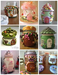 Creative and Inspiring Modern Christmas Candles Decorations Ideas Polymer Clay Fairy, Polymer Clay Projects, Diy Clay, Fairy House Crafts, Clay Fairy House, Diy Bottle, Bottle Crafts, Christmas Candle Decorations, Christmas Candles