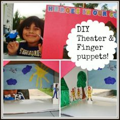 DIY cardboard box Theater and Finger Puppets. A great kids activity to inspire imagination and creativity. Can be applied to any theme and is a great summer activity! Put on a show and have a blast! Fun Crafts To Do, Crafts For Kids, Preschool Projects, Family Crafts, Art Projects, Indoor Activities For Kids, Fun Activities, Cool Baby Stuff, Fun Stuff