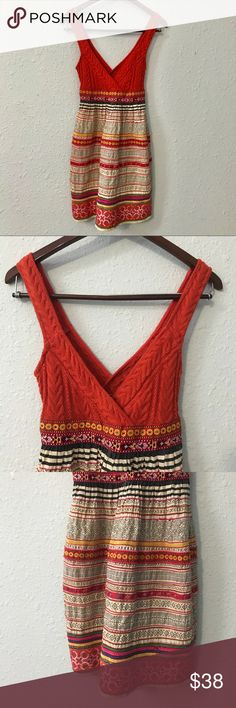 Free People orange crochet mixed print dress sz 2 This gorgeous dress from Free People features an orange crochet top with a flattering v neck silhouette and a skirt of beautiful mixed prints. Measurements are shown in the pictures. Bundle with other items from my closet for the best deal! Free People Dresses Midi