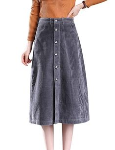 07eb88c111 Tanming Women s Button Front A-Line Corduroy Long Midi Skirt at Amazon  Women s Clothing store