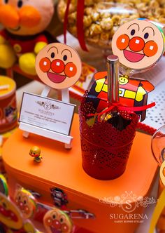 Anpanman theme scoops and name card easel
