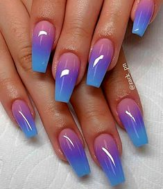56 Trendy Ombre Nail Art Designs – Long Nail Designs - Water - New Ideas Nail Art Designs, Long Nail Designs, Ombre Nail Designs, Beautiful Nail Designs, Cool Easy Nail Designs, Unique Nail Designs, Fancy Nails Designs, Cute Acrylic Nail Designs, Colorful Nail Designs