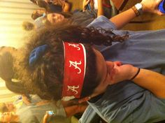 Maria rocking a duct tape headband! Haan Lohmeyer Winiecki Tape For UA Duck Tape Crafts, Football Fashion, Baseball Mom, Roll Tide, Duct Tape, Hair Ties, Ua, Headbands, Bows