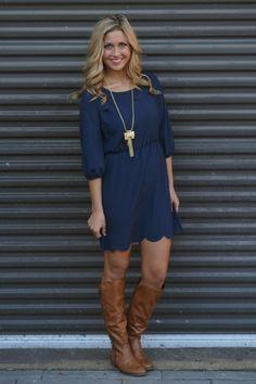 Love this Scalloped Edge Navy Dress Navy Dress With Boots, Navy Blue Dresses, Navy Blue Dress Casual, Dress Boots, Lace Dress, Stunning Dresses, Cute Dresses, Cute Outfits, Dresses With Sleeves