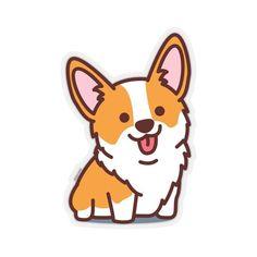Cute Corgi Puppy, Corgi Dog, Fat Corgi, Tumblr Stickers, Cute Stickers, Corgi Drawing, Dog Logo, Aesthetic Stickers, Laptop Decal