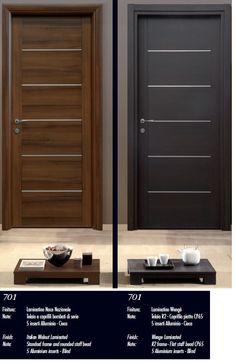 PUERTAS DE INTERIOR: SERIE SINDECOR.  modelo 701, diferentes acabados: en nogal italiano y en wengue. En ambos casos son puertas laminadas