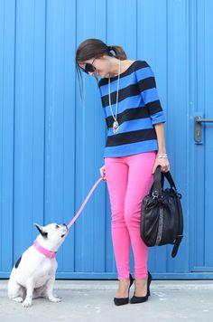 Pink pants stripe shirt black pumps