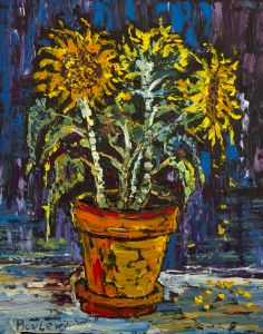 Sunflowers in the Pot Oil on Canvas 16 x 20 2012