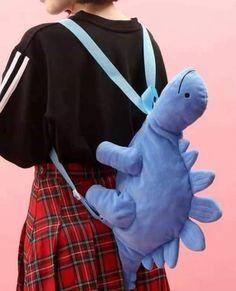 So cute green dinosaur plush shoulder bag! - For Kids and adults. Kawaii Fashion, Cute Fashion, Quirky Fashion, Mode Outfits, Fashion Outfits, Kleidung Design, Kawaii Accessories, Kawaii Clothes, Cute Bags